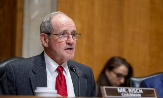 WASHINGTON, DC - OCTOBER 16: Chairman James Risch speaks  to Brian Hook State department Special Representative for Iran as he testifies during the Senate Foreign Relations Committee Holds Hearing On US-Iran Policy on October 16, 2019 in Washington, DC.  (Photo by Tasos Katopodis/Getty Images)